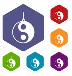 Yin yang symbol icons set hexagon vector