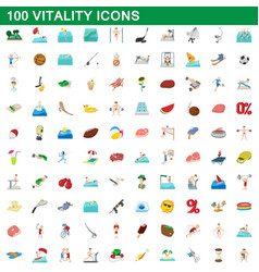 100 vitality icons set cartoon style vector image vector image