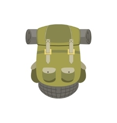 Green hiking backpack with rolled matrass vector