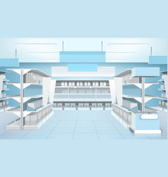 Supermarket interior design composition vector