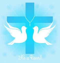 Pigeons soars in the sky he is risen vector