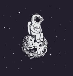 Diver like a astronaut sits on asteroid vector