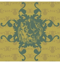 With lion and baroque ornaments in victorian style vector