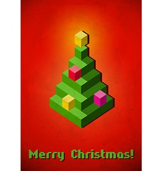 Christmas tree vintage card made of 3d pixels vector
