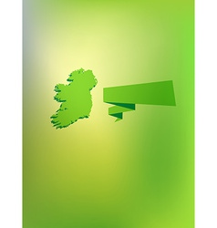 Card with contour of ireland and caption vector