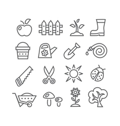 Gardening line icons vector
