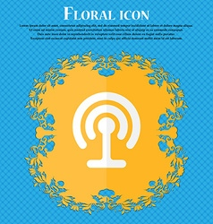 Wifi floral flat design on a blue abstract vector