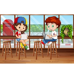 Girl and boy using computer in the pub vector