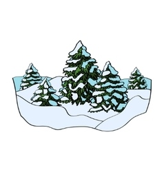 Winter forest on white vector image
