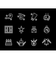 Simple line new years icons set vector