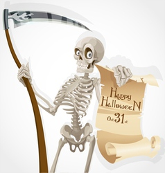 Skeleton with a scythe displays a poster vector