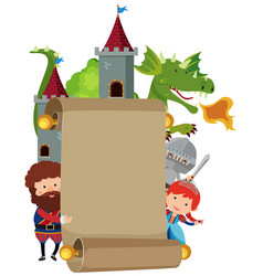 banner template with fairytale characters vector image