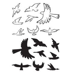 Birds in flight silhouette vector