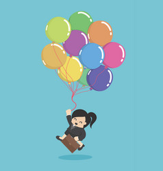 Business woman hold colorful balloons concept of vector