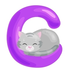 Cat letter with animal for kids abc education in vector
