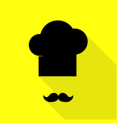 chef hat and moustache sign black icon with flat vector image vector image