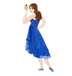 Girl in dark blue formal dress vector image
