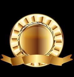 Gold seal ribbon emblem element vector image