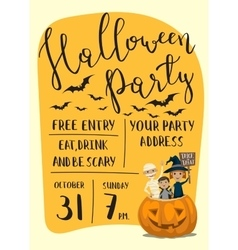 Halloween party poster design with kids vector