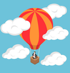 isometric businessman standing on hot air balloon vector image