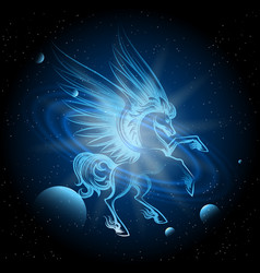 luminous pegasus in space vector image