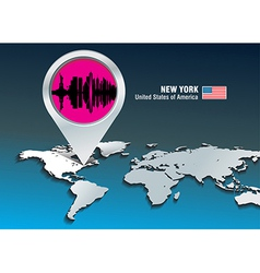 Map pin with New York skyline vector image vector image