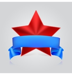 Metal star label with ribbon vector image vector image