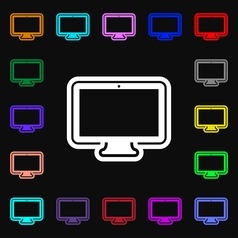 monitor icon sign Lots of colorful symbols for vector image