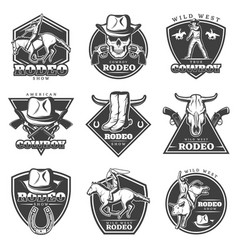 Monochrome rodeo labels set vector