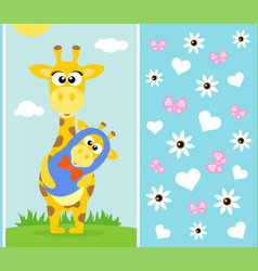 Mothers day background card with giraffe vector