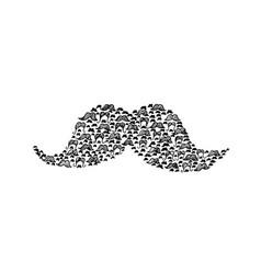mustache doodle vector image vector image