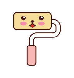 Paint roller kawaii character vector