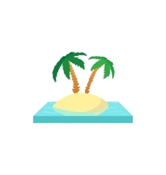 Palms on the island icon cartoon style vector image