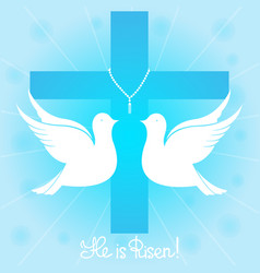 pigeons soars in the sky he is risen vector image