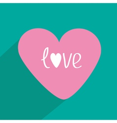 Pink heart with long shadow Flat design Icon vector image