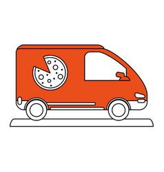 Pizza car flat vector