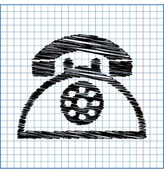 Retro telephone web icon with pen effect on paper vector