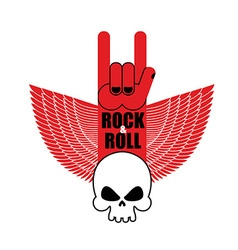 Rock and roll hand sign and wings with skull vector image