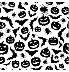 seamless black and white halloween pattern vector image