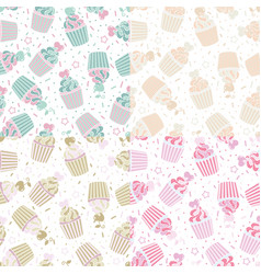 seamless pattern of cute cupcakes vector image vector image