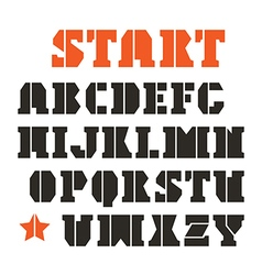Serif stencil plate font in geometric style vector