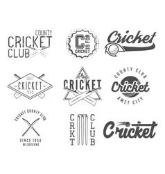 Set of cricket team emblem and design elements vector image
