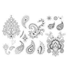 Set of decorative paisley templates vector image vector image