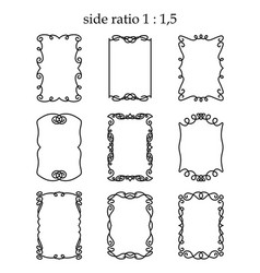 Set of rectangular outline frames isolated vector