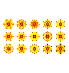 set of vintage yellow flowers vector image vector image