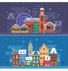 Snow city and winter festival banners vector