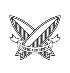 Surfboard rental logo design surfing logotype vector