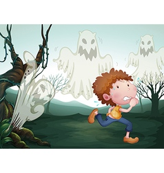 The boy and the three ghosts vector image vector image