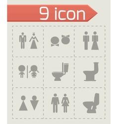 toilet icon set vector image vector image