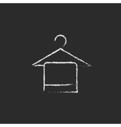 Towel on hanger icon drawn in chalk vector image